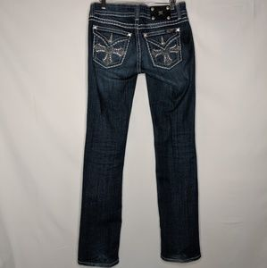 Miss Me Jeans Straight Dark Bejeweled Button Flap